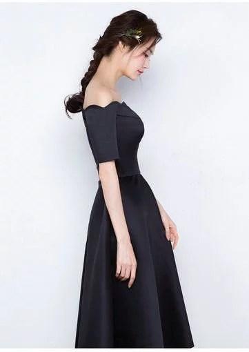 A Line Black Cocktail Dress Short Prom Dress Off The Shoulder