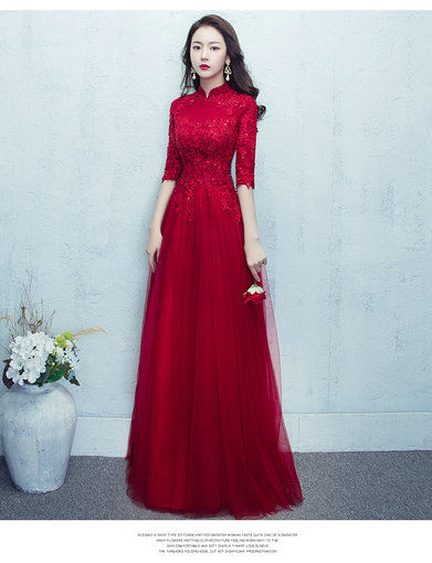 Aline Red Evening Dress With Sleeves Prom Dress Online Cheap Prom