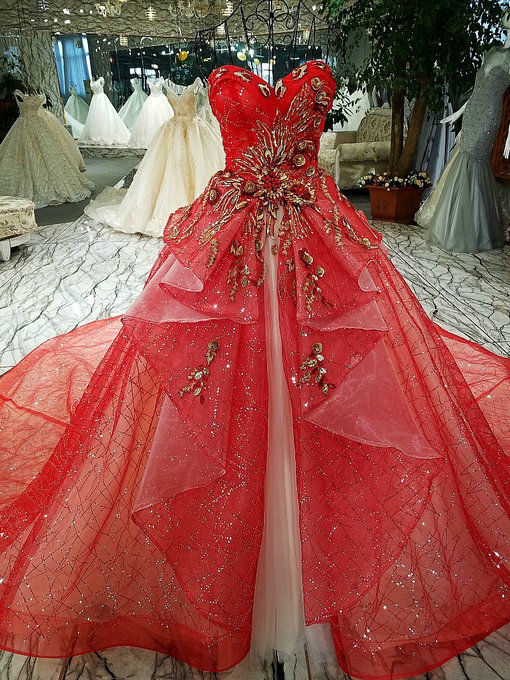 Haute Couture Ball Gown Embroidery Red Wedding Dress Online