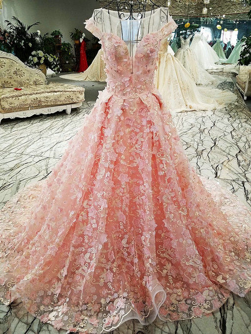 Pink Wedding Dress Haute Couture Lace Bridal Gown For Sale