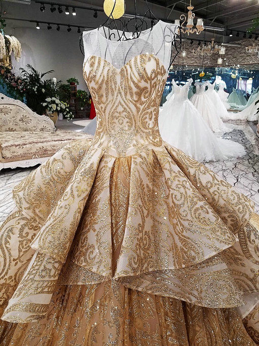 Haute couture gold wedding dress train floor length off the shoulder mermaid wedding dress 0481 10 junglespirit Image collections