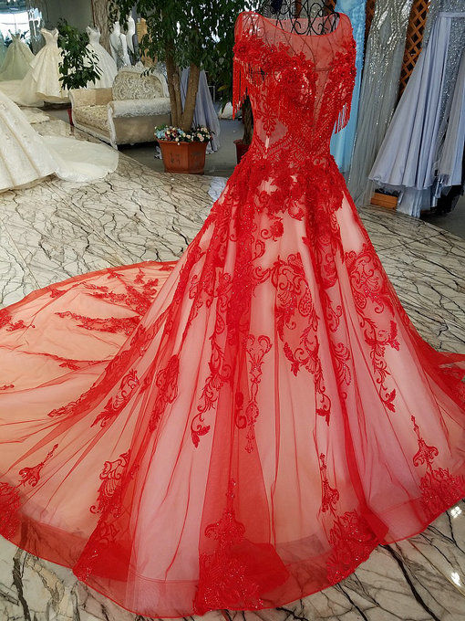 A line red wedding dress haute couture bridal dress with train red wedding dress 0472 06 junglespirit Images
