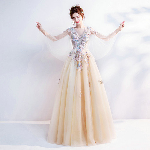 A Line Yellow Prom Dress Plus Size Formal Party Dress Sale Online