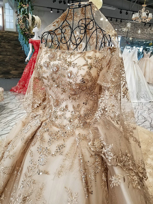 Haute Couture Gold Wedding Dress Hand Made Evening Gown For Sale