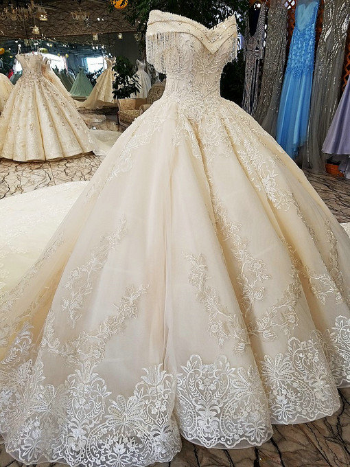 Off the shoulder ball gown hand made gorgeous wedding dress off shoulder wedding dress 05689 14 add to wishlist loading junglespirit Image collections