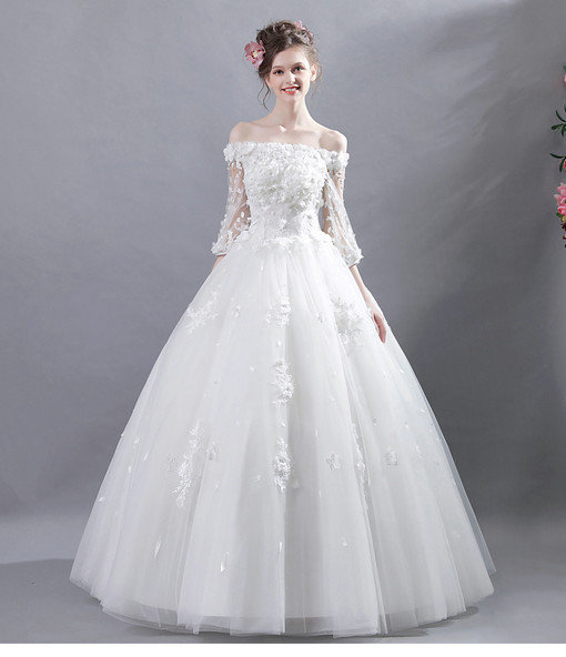 Ball Gown Long Sleeves Wedding Dress Online For Sale