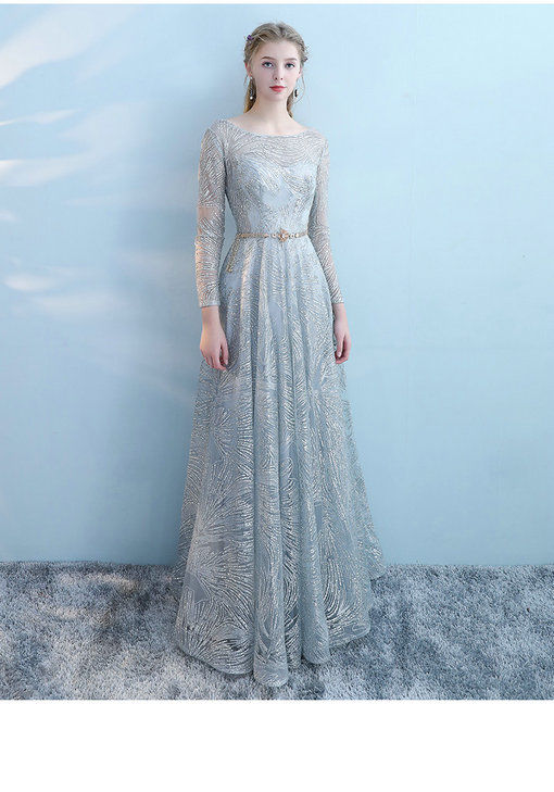 Long Sleeve Prom Dress Grey Aline Long Party Dress For Sale