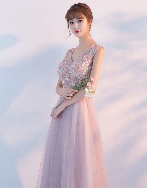 Prom Dress Pink V Neck A Line Long Evening Gown