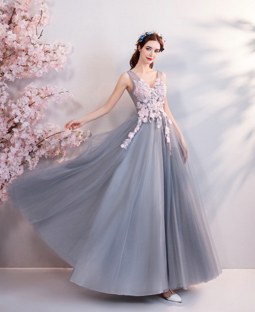 A Line Evening Dress Grey Long Prom Dress Wholesale