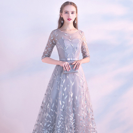 Grey Evening Dress Silver Prom Dress Long 2018