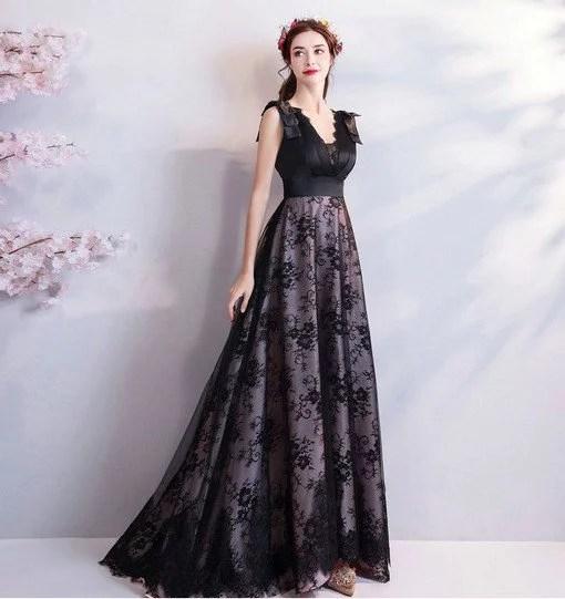 Black Evening Dress Plus Size V Neck Prom Dress Train