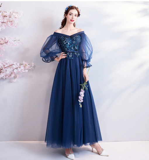 Prom Dress With Sleeves Plus Size Dark Blue A Line