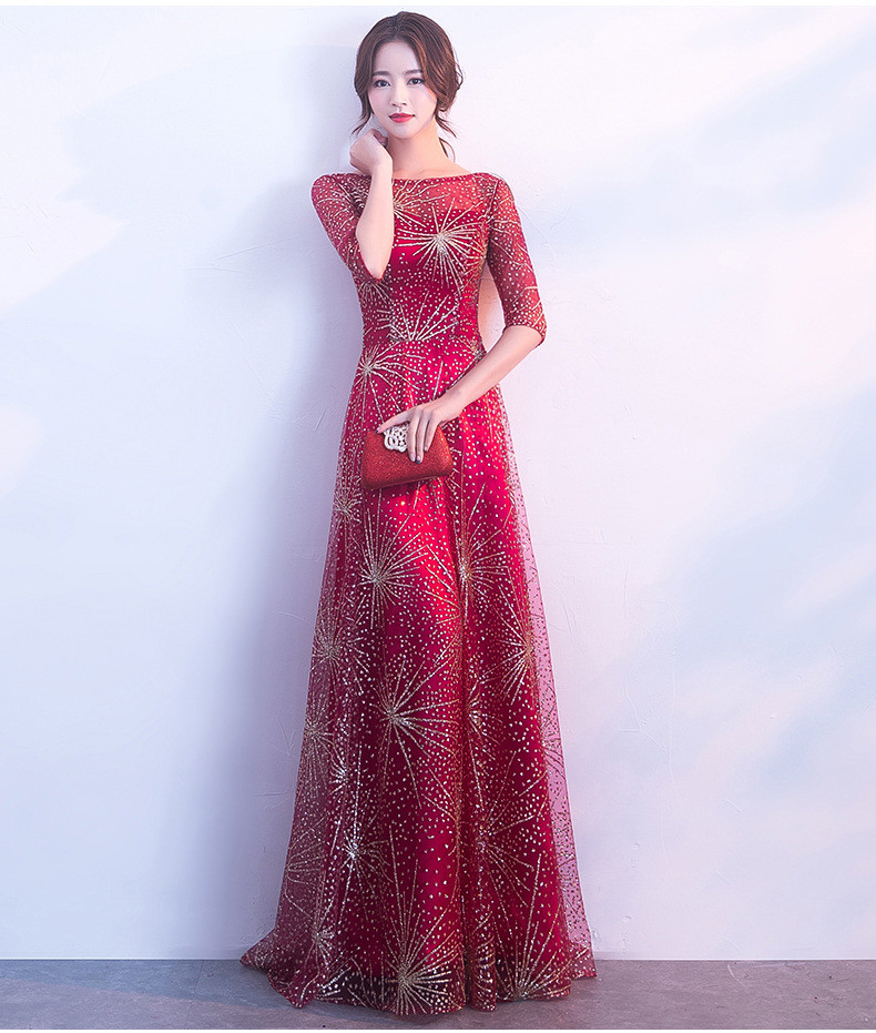 Red And Gold Prom Dress A Line Long Bridesmaid Dress Sale