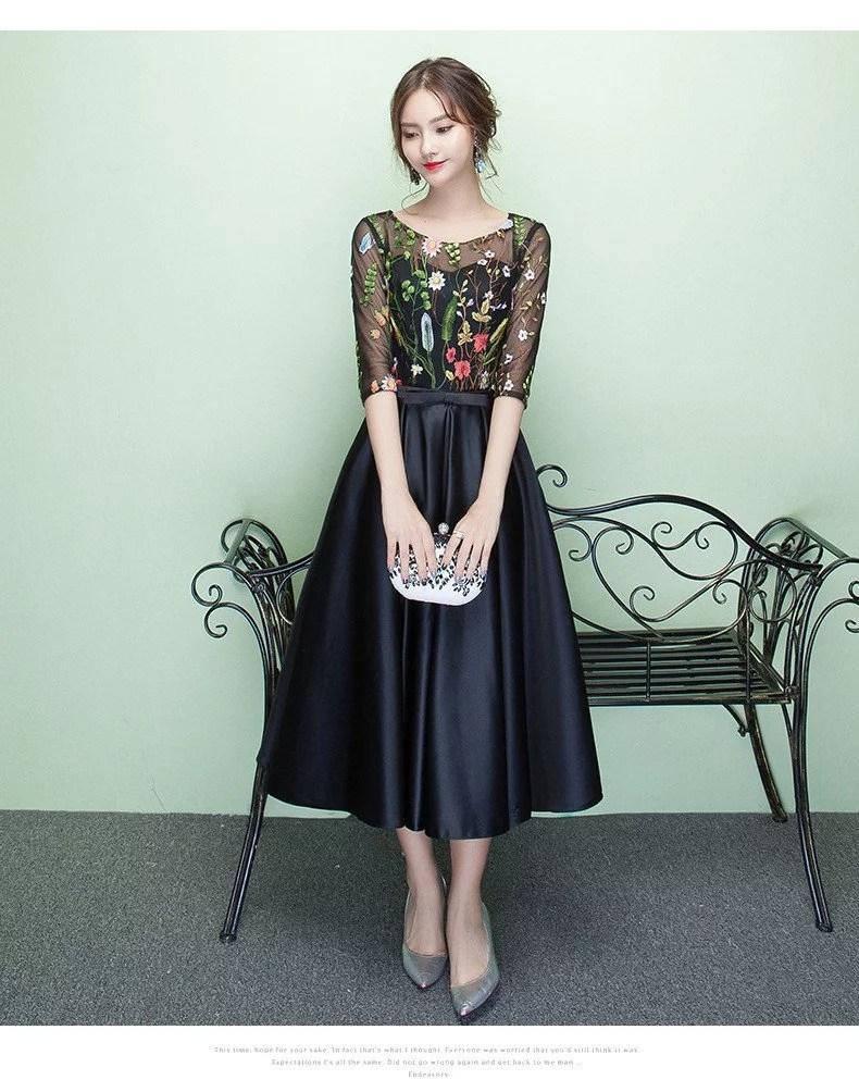 Tea Length Prom Dress Black Flower Cocktail Dress Sale