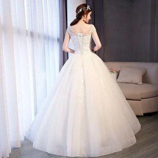 Wedding Dress Ivory Ball Gown Off Shoulder Dress Girls