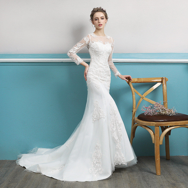 Wedding Dress Long Sleeve Mermaid Lace Bridal Dress Wholesale