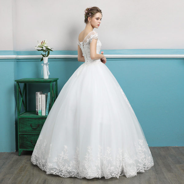 Wedding Dress Short Sleeves Princess Ball Gown Plus Size