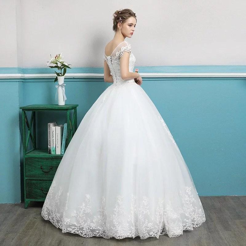 Wedding Dress Short Sleeves Princess Ball Gown Plus Size