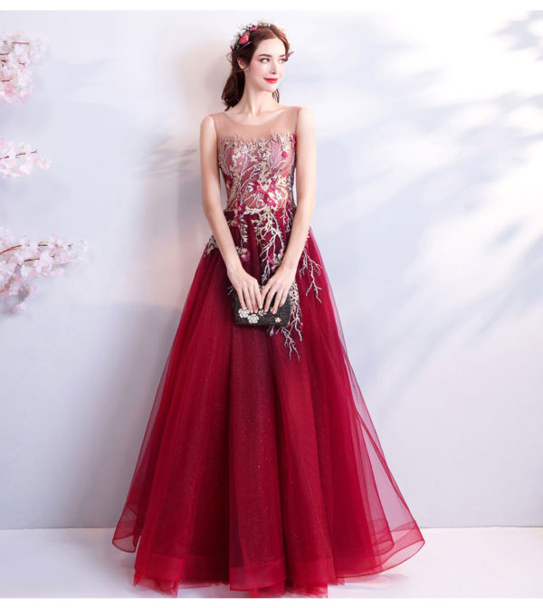 Burgundy Formal Dress A Line Long Prom Dress 2018