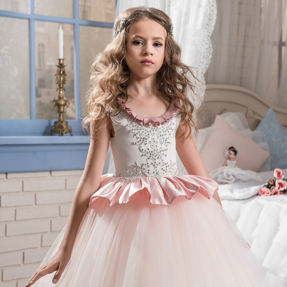 Floor length flower girl dresses light pink ball gown mightylinksfo