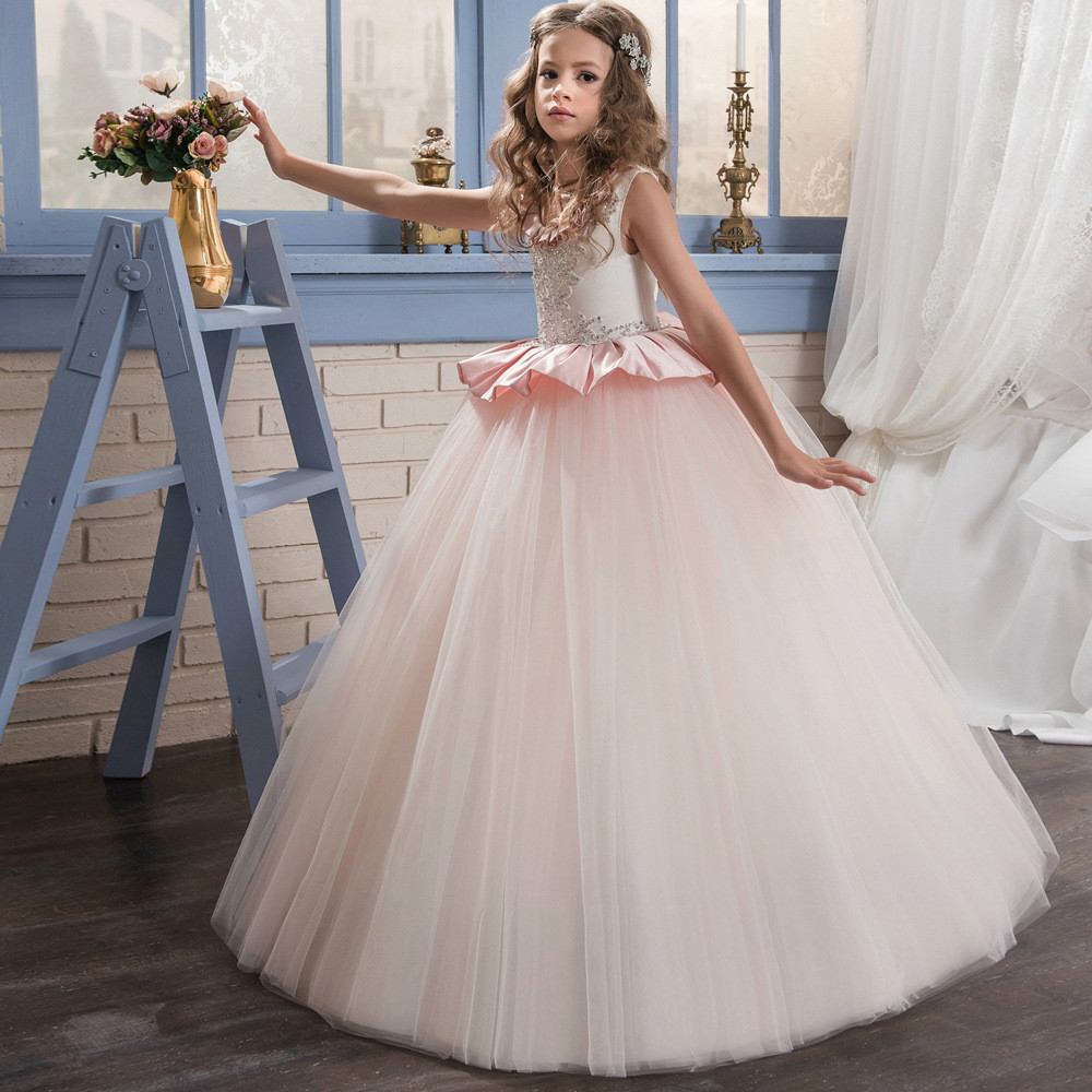 Floor Length Flower Girl Dresses Light Pink Ball Gown