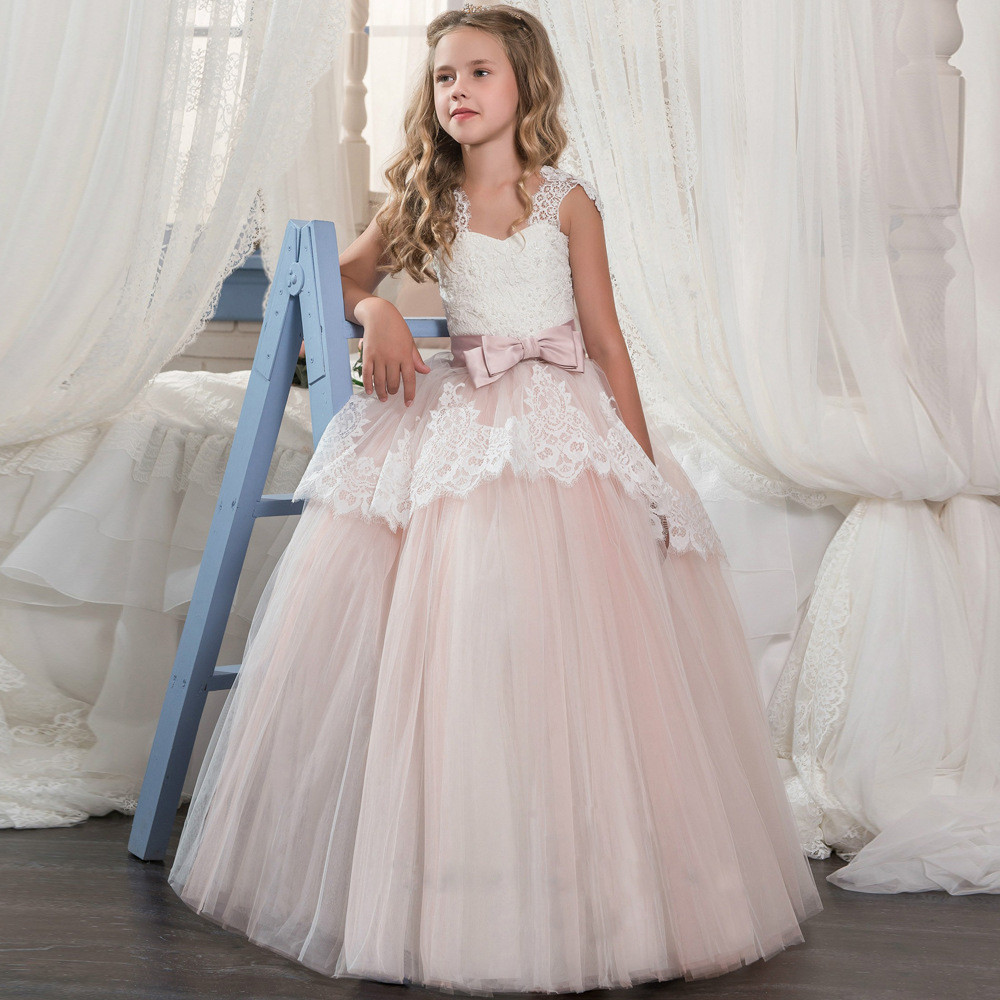 Kids Flower Girl Dresses Lace Ball Gown Floor Length Sale