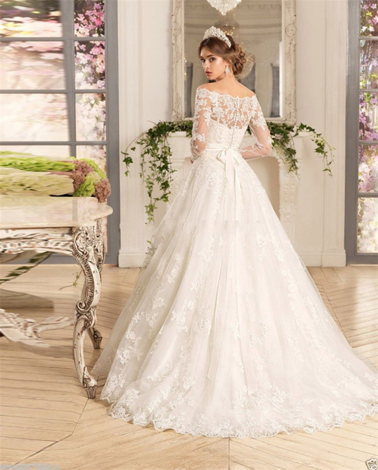Lace Wedding Dress Ivory A Line Long Sleeves Off Shoulder