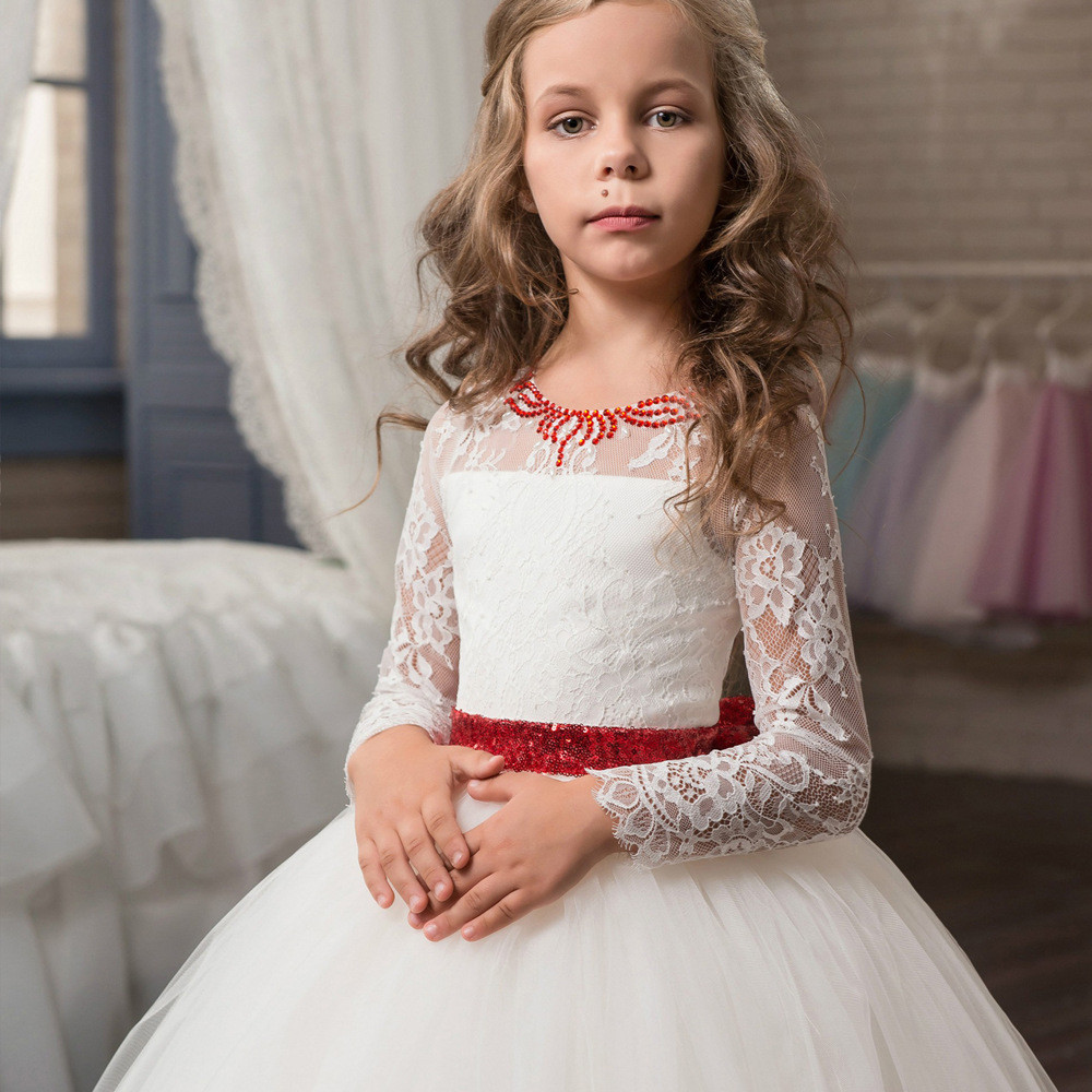 Long Sleeve Flower Girl Dresses White Ball Gown Princess