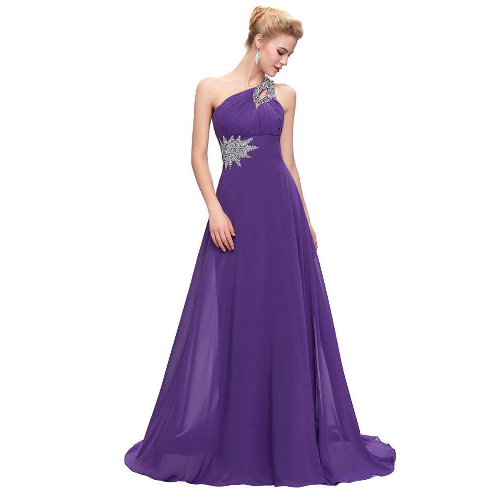 One Shoulder Bridesmaid Dress Long A Line Beading Sale