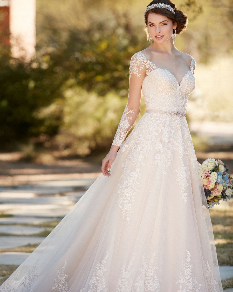 Wedding Dress Plunging Neckline Lace Long Sleeves