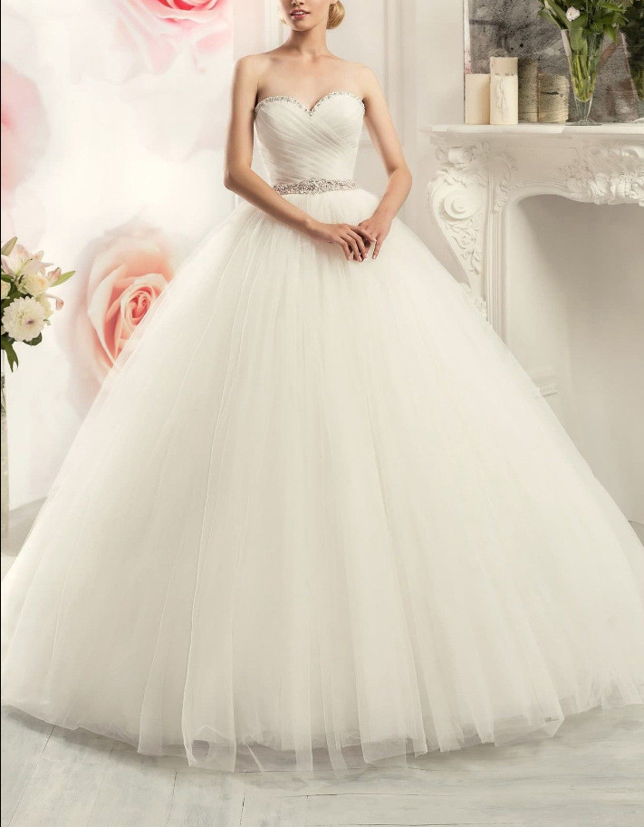 Wedding Dress Strapless Ball Gown Bridal Dress With Train