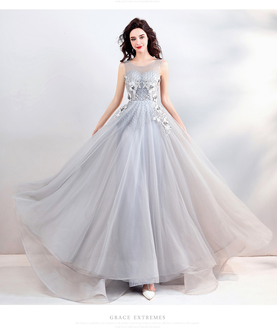 Evening Gown Online Grey A Line Long Party Dress
