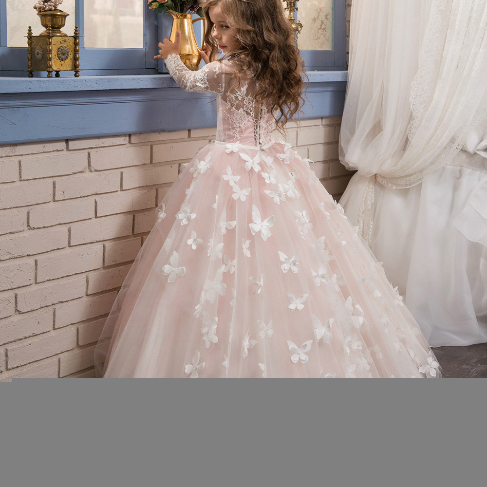 Flower girl dresses with sleeves light pink ball gown sale flower girl dresses with sleeves 06500002 mightylinksfo