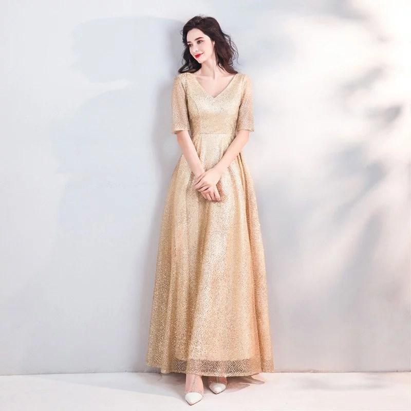Gold Evening Gown V Neck A Line Paillette Floor Length