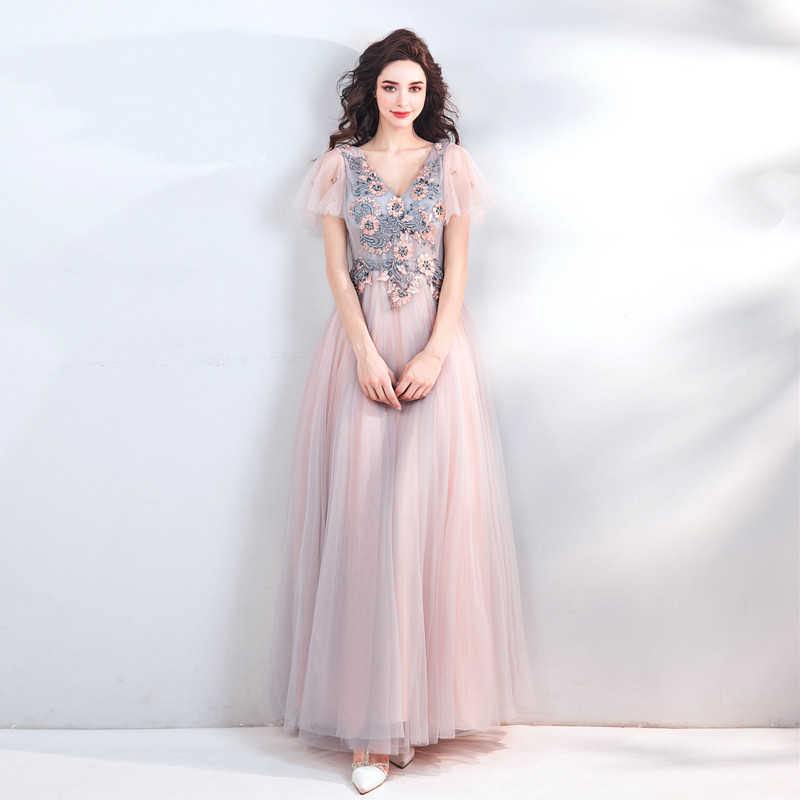Light Pink Formal Dress V Neck A Line Long Prom Dress