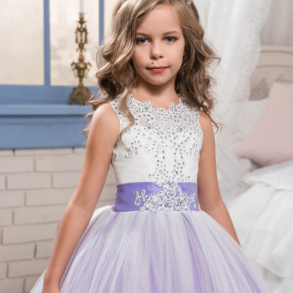 purple and white flower girl dresses lace ball gown sale