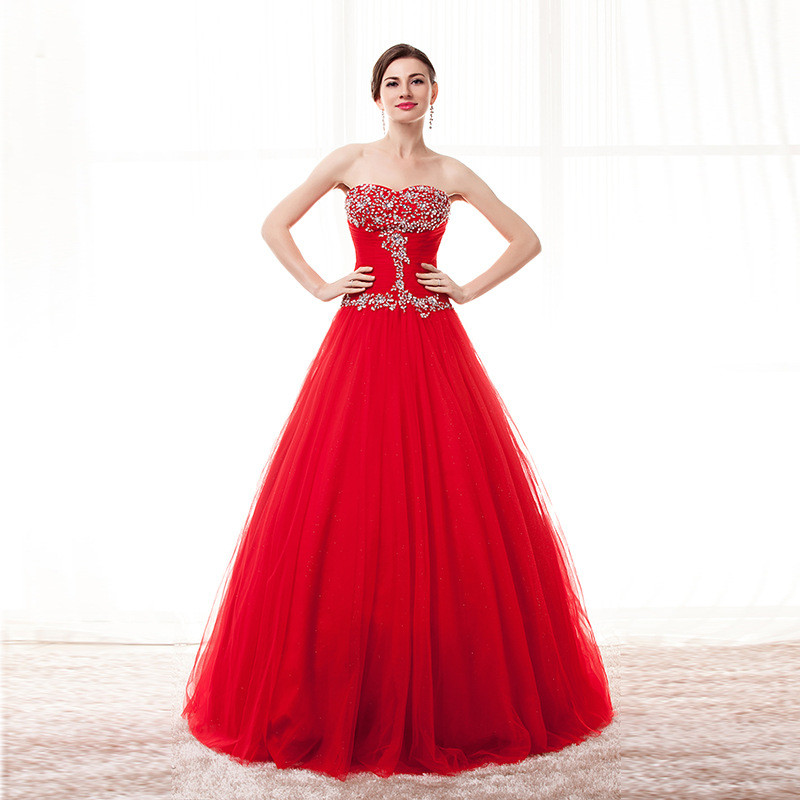 Strapless Ball Gown Prom Dress Red Light Blue Purple