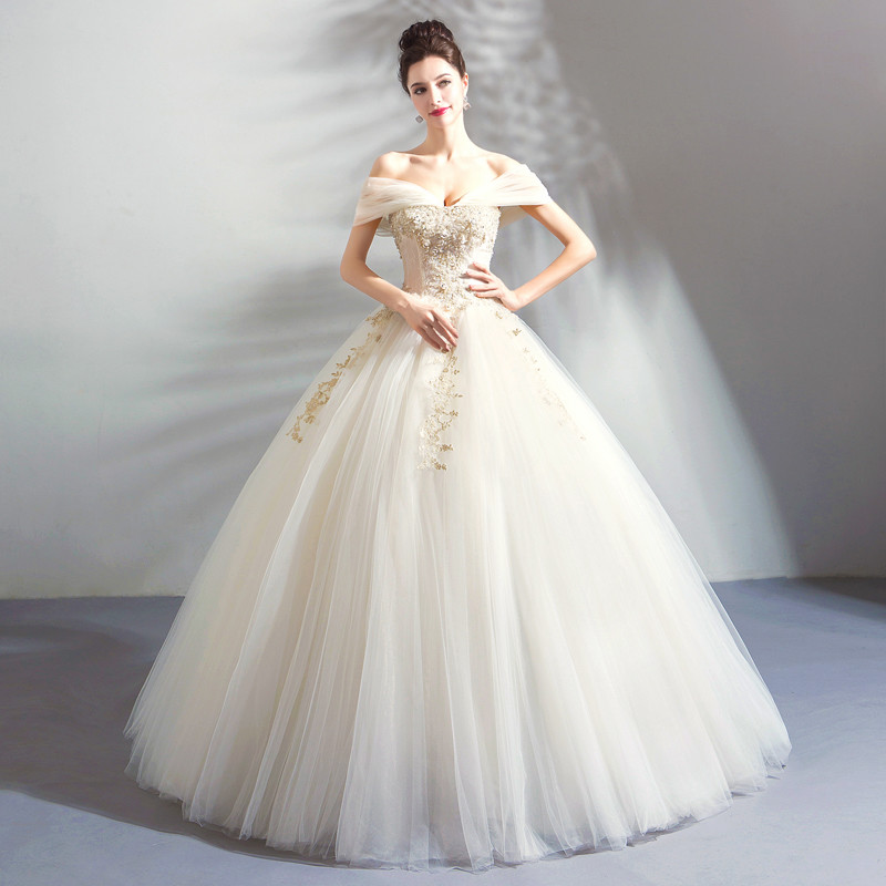 Gold And White Wedding Dress Ball Gown Off The Shoulder