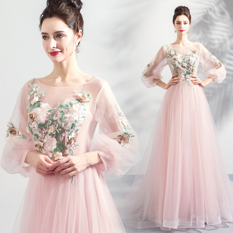 Pink Prom Dress Long Sleeve A Line With Train Plus Size