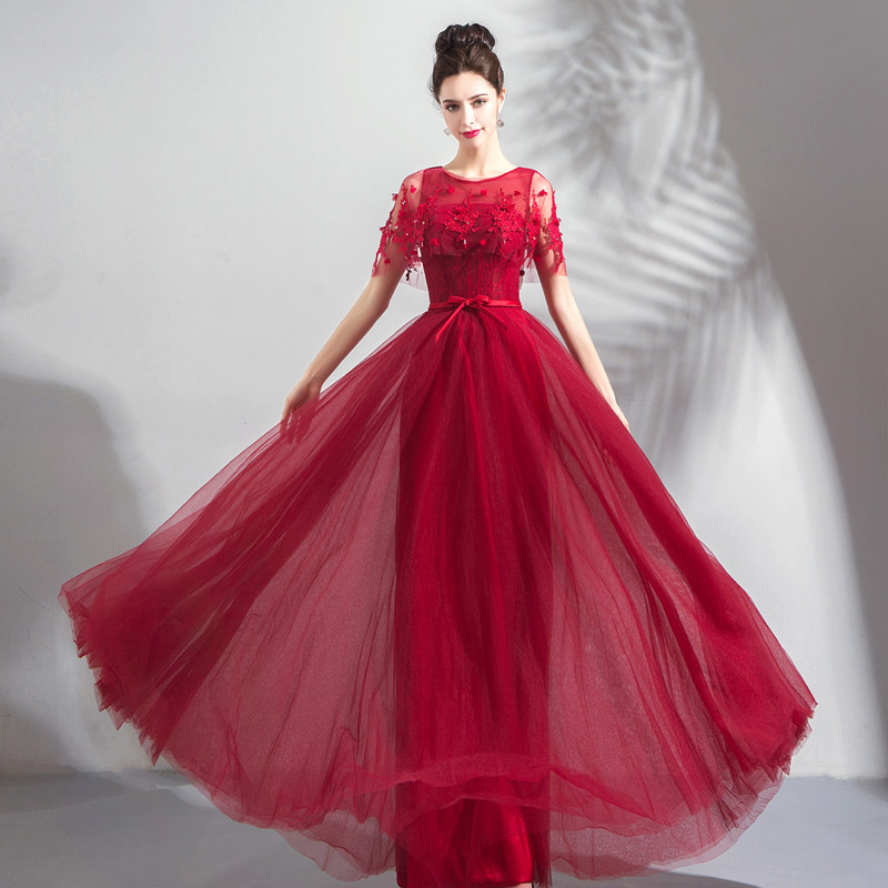 Red Formal Dress Long A Line Lace Prom Dress Online For Sale