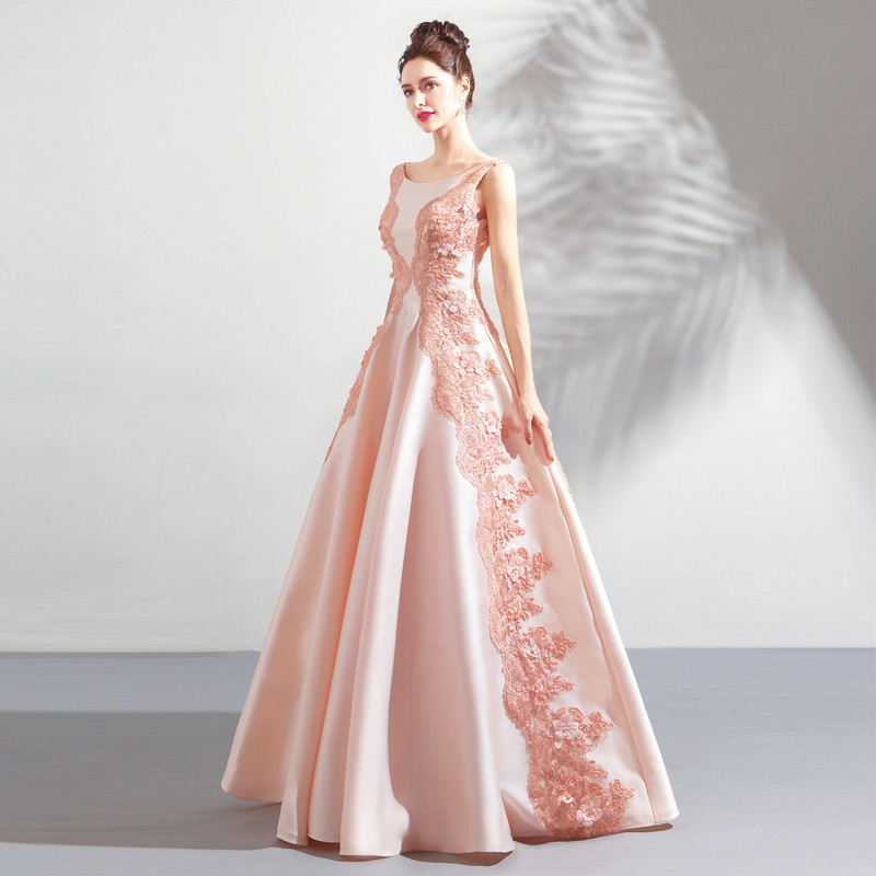 Pink Prom Gown Lace A Line Princess Sweet 15 Dress
