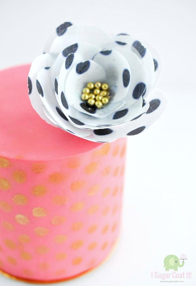Simple wafer paper flower tutorial i sugar coat it polka dot wafer paper flower mightylinksfo