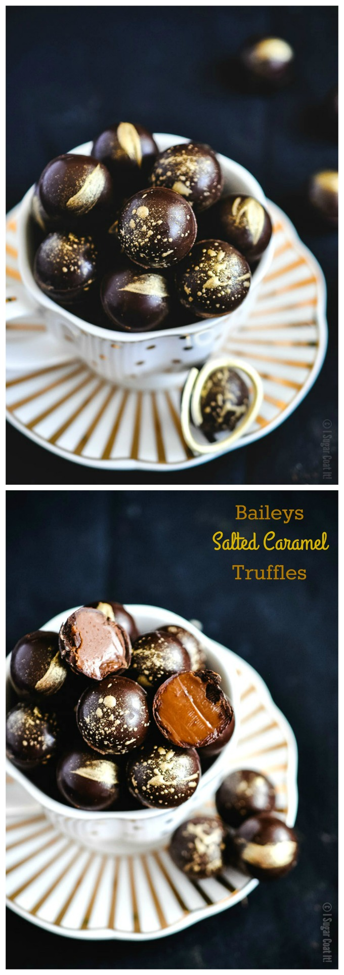 These Baileys Salted Caramel Dark Chocolate Truffles are melt-in-your-mouth magical with a thin dark chocolate shell filled with a creamy Baileys Salted Caramel Irish Cream ganache.