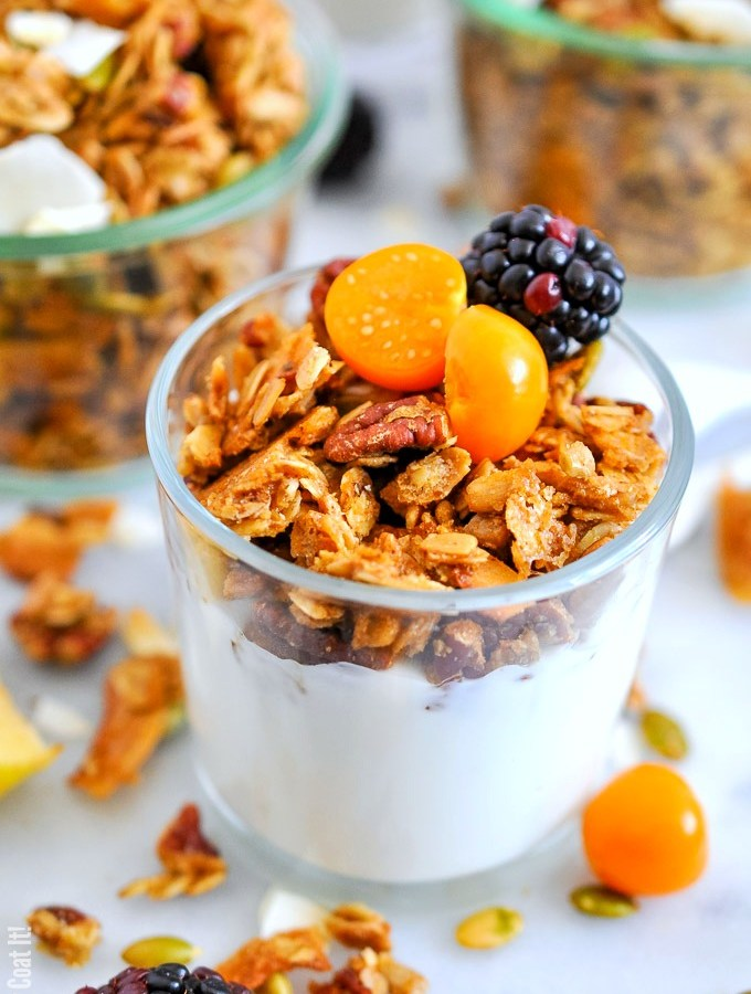 This 5-Minute Maple Pecan Granola packs an unbelievable crunch and comes together quickly, easily and deliciously using the microwave.
