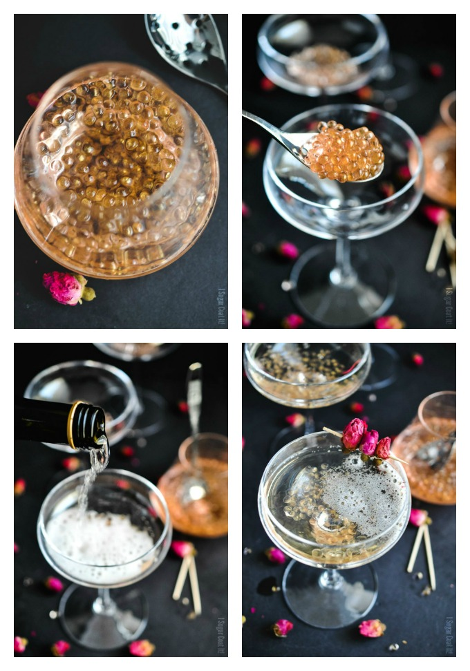 Make a bubbly entrance to 2017 with Molecular Rose Caviar Champagne. Rose-infused pearls and your favourite bubbly for a delightfully refreshing toast!