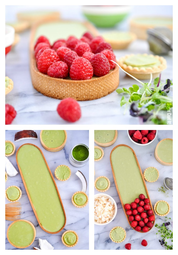 A delightful Coconut Matcha Ganache Tart with layers of silky green tea coconut ganache, raspberries and toasted coconut in a homemade sweet pastry.