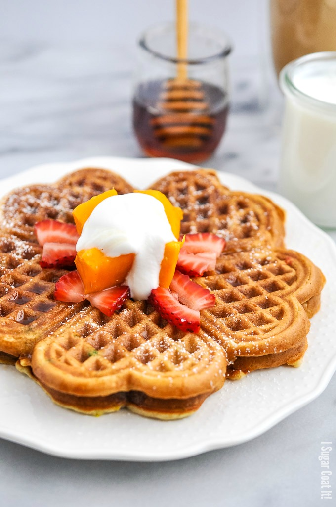 Perfect for Mother's Day brunch, these from-scratch Non-Dairy Banana Flour Waffles are packed with nutrient-rich banana flour and non-dairy buttermilk.