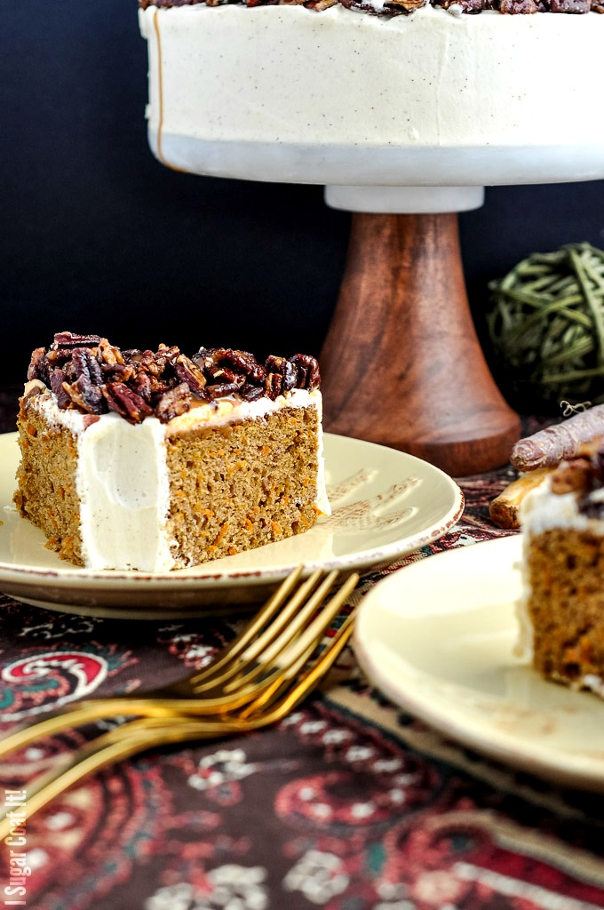 Whipped Mascarpone Browned Butter Carrot Cake with carrot caramel pecans makes a perfectly decadent centrepiece for your Thanksgiving celebration!