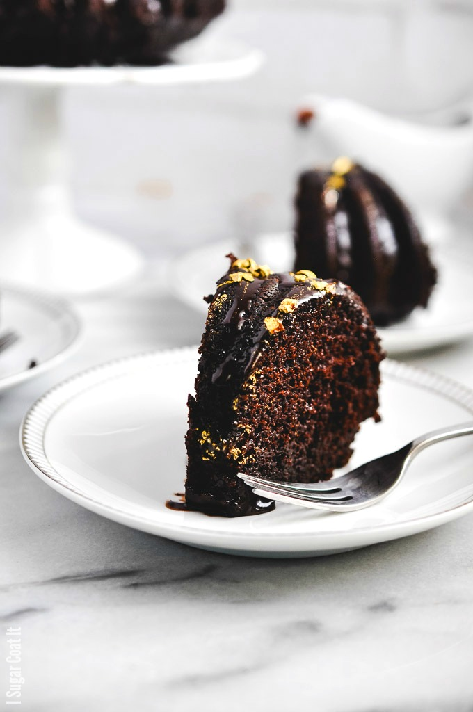 Coffee Chocolate Truffle Bundt Cake is decadent dark chocolate cake, dripping with coffee ganache and topped with golden cacao nibs for a little bling and crunch.