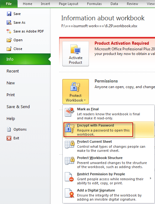 how to protect excel file before opening